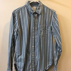 Blue and white striped casual button down